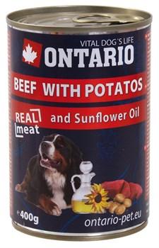 Ontario - Консервы для собак (с говядиной и картофелем) Beef With Potatos, Sunflower Oil - фото 6458