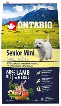 Ontario - Сухой корм для пожилых собак малых пород (с ягненком и рисом) Senior Mini Lamb & Rice - фото 6481
