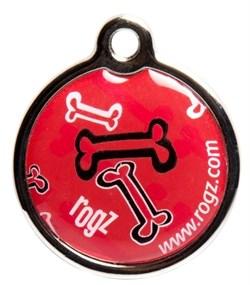"""Rogz - Адресник металлический малый """"Красные косточки"""" METAL ID TAG SMALL - фото 7121"""