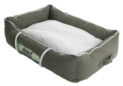 Rogz - Лежак с бортиком и двусторонней подушкой, оливковый/кремовый, средний (72x45x25 см) LOUNGE POD MEDIUM - фото 7155