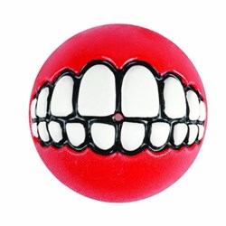 Rogz - Мяч с принтом зубы и отверстием для лакомств, малый (красный) GRINZ BALL SMALL - фото 7252
