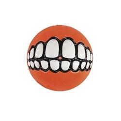 Rogz - Мяч с принтом зубы и отверстием для лакомств, малый (оранжевый) GRINZ BALL SMALL - фото 7254