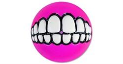 Rogz - Мяч с принтом зубы и отверстием для лакомств, малый (розовый) GRINZ BALL SMALL - фото 7255