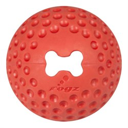 Rogz - Мяч из литой резины с отверстием для лакомств, малый (красный) GUMZ BALL SMALL - фото 7267
