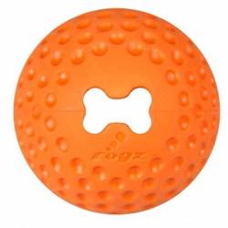 Rogz - Мяч из литой резины с отверстием для лакомств, малый (оранжевый) GUMZ BALL SMALL - фото 7269