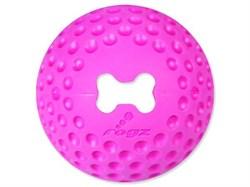 Rogz - Мяч из литой резины с отверстием для лакомств, малый (розовый) GUMZ BALL SMALL - фото 7270