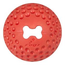 Rogz - Мяч из литой резины с отверстием для лакомств, большой (красный) GUMZ BALL LARGE - фото 7277