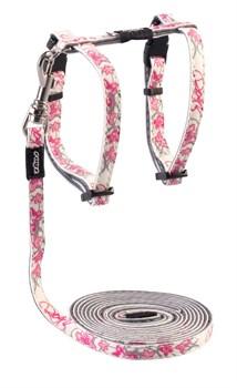 "Rogz - Набор для кошек ""Розовые бабочки"" (шлейка (24-40см) + поводок (длина 1,8м)) GLOWCAT HARNESS AND LEAD SET PINK - фото 7355"