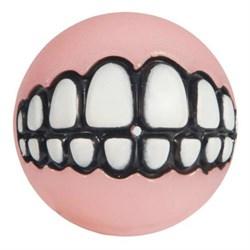 Rogz - Мяч для щенков с принтом зубы и отверстием для лакомств, средний (розовый) PUPZ GRINZ BALL MEDIUM - фото 7458