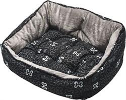 "Rogz - Мягкий лежак с двусторонней подушкой ""Черные косточки"", размер S (52х38х25см) TRENDY PODZ - фото 7553"