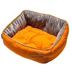 "Rogz - Мягкий лежак с двусторонней подушкой ""Оранжевая лапка"", размер S (52х38х25см) LUNA PODZ - фото 7569"