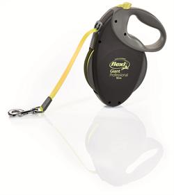 Flexi - Рулетка-ремень для особо крупных и сильных собак, 10 м до 50 кг (черная+неон) Giant Professional Neon tape - фото 8056