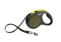Flexi - Рулетка-ремень для собак, размер S - 5 м до 15 кг (желтая) Design Tape yellow - фото 8078