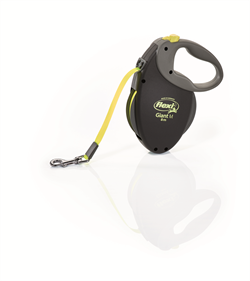 Flexi - Рулетка-ремень для собак, размер M - 8 м до 25 кг (черная+неон) GIANT Neon tape Black - фото 8105
