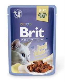 """Brit - Паучи для кошек """"Кусочки из филе говядины в желе"""" JELLY Beef fillets - фото 8855"""
