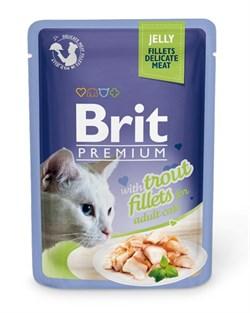 "Brit - Паучи для кошек ""Кусочки из филе форели в желе"" JELLY Trout fillets - фото 8860"