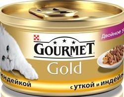 Purina Gourmet - Влажный корм для кошек (с уткой и индейкой) Gold Двойное удовольствие - фото 9021