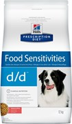 Hill's (вет. диета) - Cухой корм для собак лечение пищевых аллергий (с лососем и рисом) D/D