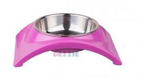 "Dezzie - Миска для кошек на подставке ""Дуга"", пластик, металл, 150 мл"