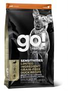 GO! Natural Holistic - Сухой корм беззерновой для щенков и собак для чувствительного пищеварения (с цельной уткой) Sensitivity + Shine Duck Dog Recipe, Grain Free, Potato Free