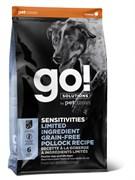 GO! Natural Holistic - Сухой корм беззерновой для щенков и собак для чувствительного пищеварения (с минтаем) Sensitivity + Shine LID Pollock Dog Recipe, Grain Free, Potato Free