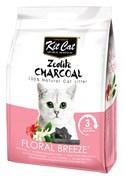 Kit Cat - Наполнитель комкующийся цеолитовый для кошек (с ароматом цветов) Zeolite Charcoal Floral Breeze