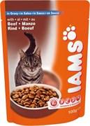 Iams - Паучи для взрослых кошек (с говядиной в соусе) Cat Pouch