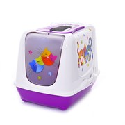 Moderna - Туалет-домик Trendy cat с угольным фильтром и совком, 50х41х39, Друзья навсегда фиолетовый