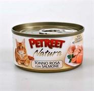 Petreet - Консервы для кошек (кусочки розового тунца с лососем) Natura