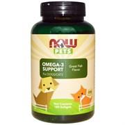 Now Foods, Now Pets - Витамины для собак и кошек Омега-3 с рыбным вкусом (желатиновые капсулы)