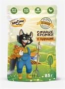 Мнямс - Паучи для кошек (сочные кусочки с курицей) «Фермерская ярмарка» линия Кот Федор