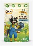 Мнямс - Паучи для кошек (сочные кусочки с индейкой) «Фермерская ярмарка» линия Кот Федор