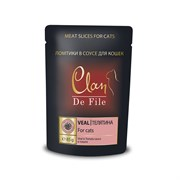 Clan De File - Паучи для кошек (с телятиной в томатном соусе)