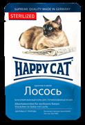 Happy Cat - Паучи для стерилизованных кошек (кусочки лосося в желе)