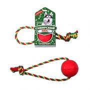 """Сибирская кошка - Сибирский Пес игрушка для собак """"Супермяч"""" на верёвке с кольцом"""