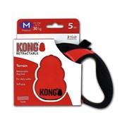 """Kong - Рулетка для собак """"Terrain"""", размер M - 5 м до 30 кг (красная), лента"""
