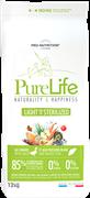 Flatazor - Сухой корм диетический для взрослых собак всех пород, кастрированных и стерилизованных собак (с уткой и белой рыбой) PURE LIFE LIGHT AND/OR STERILISED