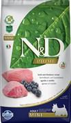 Farmina - Беззерновой корм для взрослых собак мелких пород (ягненок с черникой) N&D Line lamb&blueberry adult mini