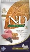 Farmina - Низкозерновой корм для взрослых собак мелких и карликовых пород (ягненок с черникой) N&D Low Grain Lamb&Blueberry Adult Mini