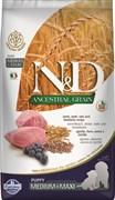 Farmina - Низкозерновой корм для щенков средних и крупных пород ( ягненок с черникой) N&D Low Grain Lamb&Blueberry Puppy Medium&Maxi