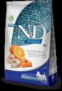 Farmina - Беззерновой корм для взрослых собак мелких пород (треска, тыква и апельсин) N&D OCEAN DOG CODFISH, PUMPKIN AND ORANGE ADULT MINI