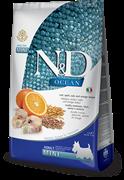 Farmina - Низкозерновой корм для взрослых собак мелких пород (с треской, спельтой, овсом и апельсином) N&D OCEAN DOG CODFISH, SPELT, OATS AND ORANGE ADULT MINI