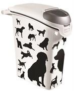 """Curver PetLife - Контейнер для корма """"Собаки"""", черно-белый, на 10кг/23л, 23*50*50см"""