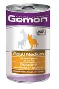 Gemon Dog - Консервы для собак средних пород (кусочки курицы с индейкой) Adult Medium