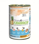 Trainer - Консервы для щенков и юниоров средних и крупных пород (с рыбой и рисом) Fitness No Gluten Medium/Maxi Puppy&Junior Fish and Rice