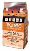 Monge - Сухой беззерновой корм для собак мелких пород (утка с картофелем) Dog GRAIN FREE Mini
