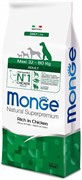 Monge - Сухой корм для взрослых собак крупных пород (курица с рисом) Maxi Adult Dog