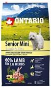 Ontario - Сухой корм для пожилых собак малых пород (с ягненком и рисом) Senior Mini Lamb & Rice