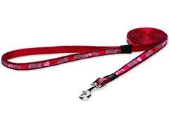 """Rogz - Удлиненный поводок """"Красные косточки"""" (размер M - ширина 1,6 см, длина 1,8 м) FANCY DRESS FIXED LONG LEAD"""