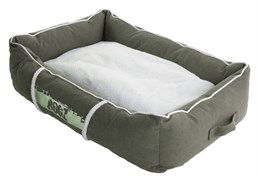 Rogz - Лежак с бортиком и двусторонней подушкой, оливковый/кремовый, малый (56x35x22 см) LOUNGE POD SMALL